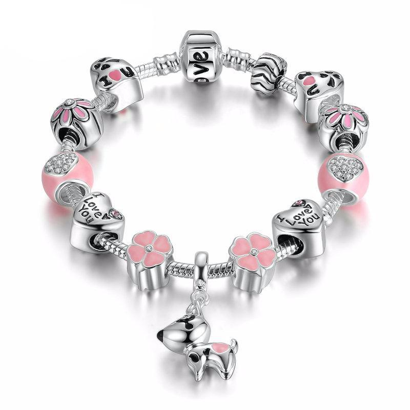 Charms Bracelets For Women (Lovely Dog & Pink Heart Flower)