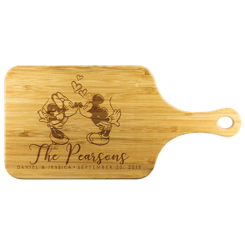 Mickey and Minnie Kissing Personalized Cutting Board