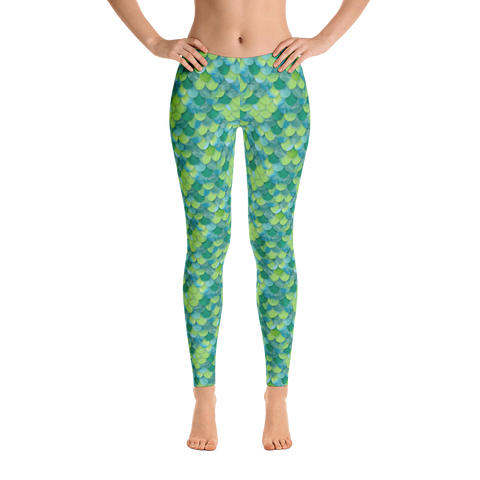 Sea Life (Green) - Women's Cut & Sew Leggings