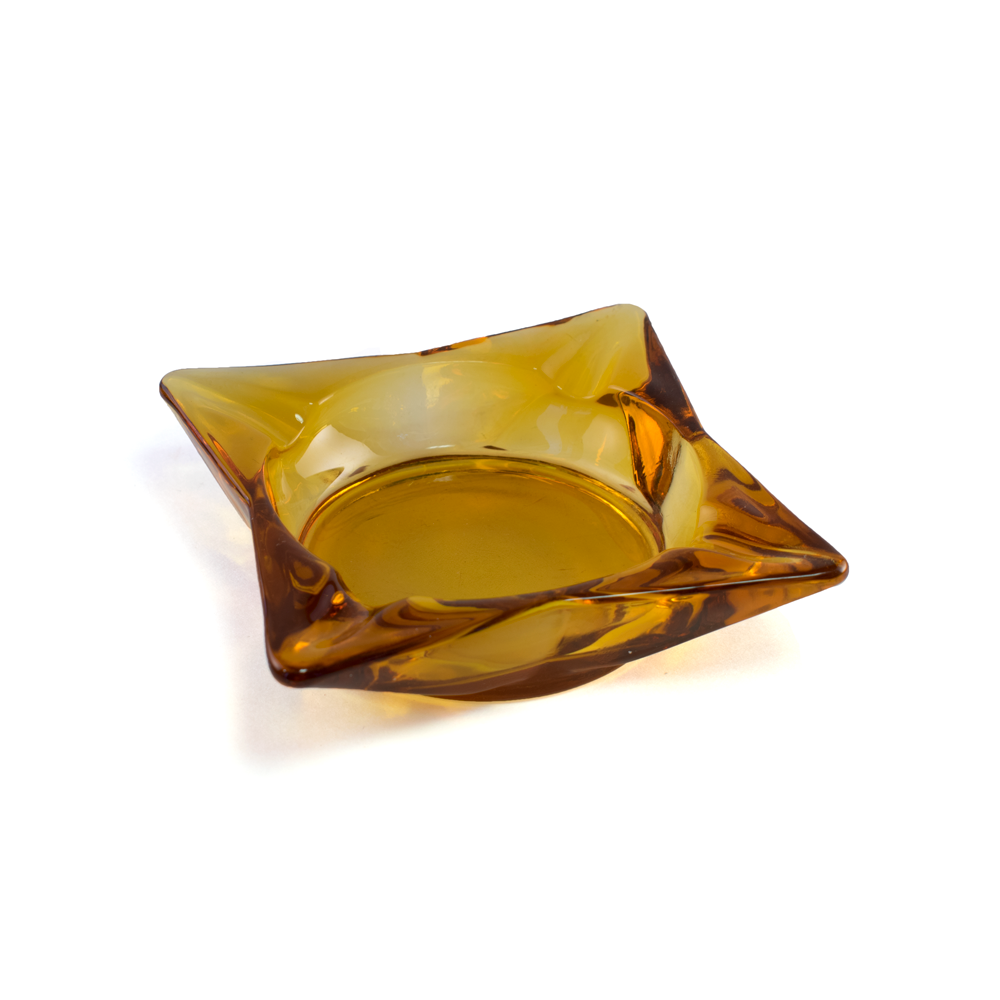 Amber Yellow Diamond Ashtray - Milkweed Co.