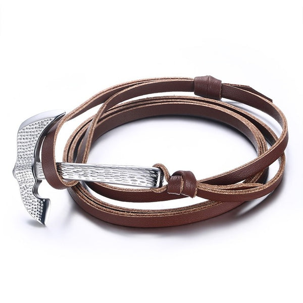 Stainless Steel Axe Multilayer Leather Bracelet