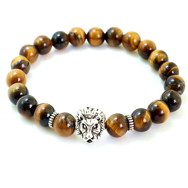 Natural Tiger Stone Beads stretch Bracelets lion Charm bead For Women Men Jewelry