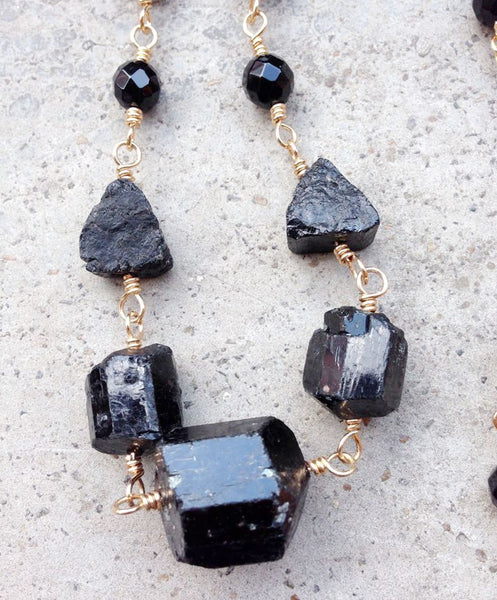 Natural Black Tourmaline with Black Stone Beads Handmade Necklace  22inch long 25x22mm