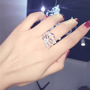 925 Sterling Silver Belt Buckle Crystal Ring  Gift Women Jewelry Finger Rings