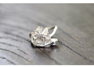 925 Sterling Silver Lotus Flower Rings For Women Jewelry Beautiful Open Rings
