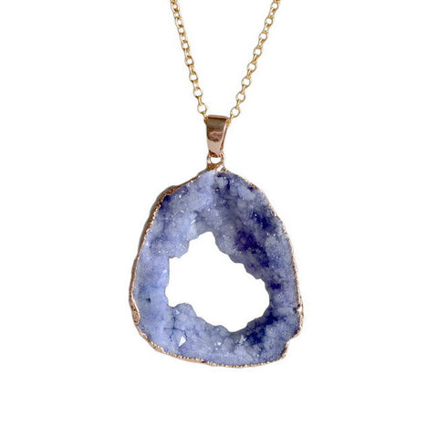 Crystal Druzy Geode Stone Pendant  Necklace