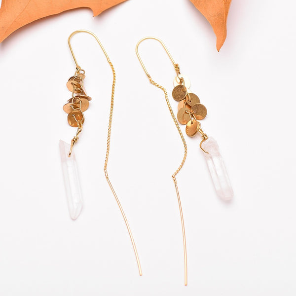 Natural Stone Drop Earrings Antique Gold