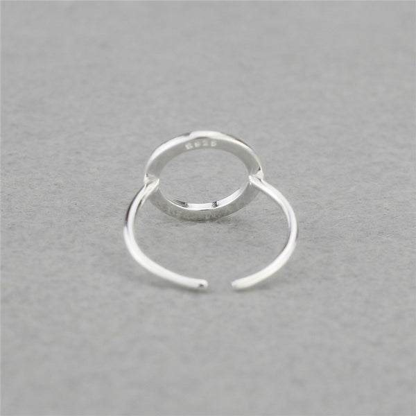 925 Sterling Silver Round Circle Open Ring