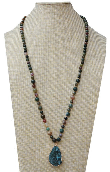 Green Natural stone & quartz druzy stone long necklace for women jewelry