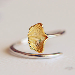 Ginkgo Flowers 925 Sterling Silver Open Ring