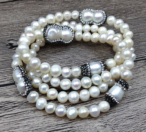 Natural Fresh Water Pearl Pave Crystal Beads Knot Handmade Necklace or Bracelet 34inch