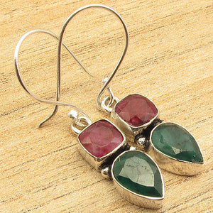 2 STONE EarringsNatural RUBI & Emeralds  Silver Plated Jewelry