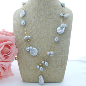 "21"" 20MM Grey Keshi Pearl Necklace"