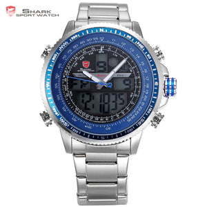 Winghead SHARK Sport Watch Blue Fashion Casual Quartz Wristwatches LCD Digital Dual Time Chronograph Waterproof