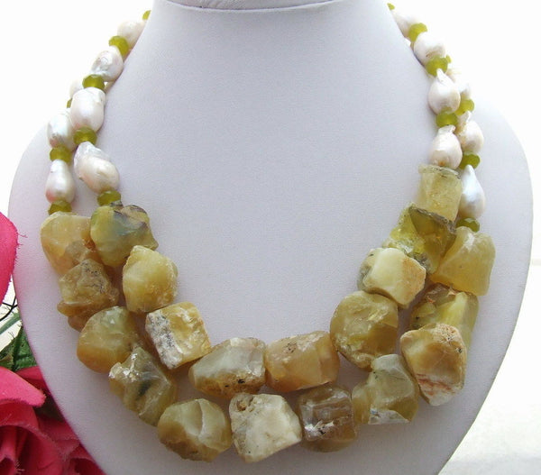 18mm bead-Nucleated Pearl & Yellow Opal  Necklace