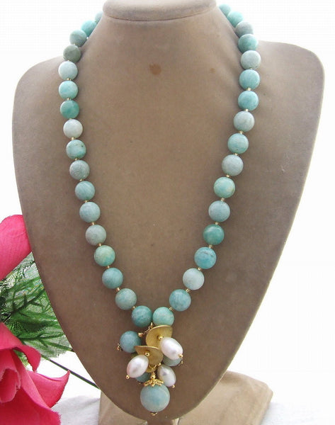 White Pearl & 10mm Natural Amazonite Necklace
