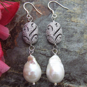 18mm White Keshi Freshwater Cultured Pearl Earrings