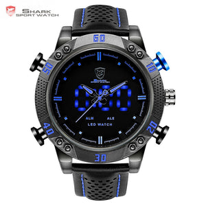 Kitefin Shark Sport Watch Brand Blue Outdoor Hiking Digital LED Electronic Watches Calendar Alarm Leather Band Men