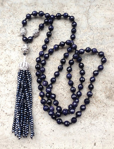 Black Tourmaline Black Onyx Crystal Beads Tassel Pendant Stone Knot Beads Handmade Necklace 30inch