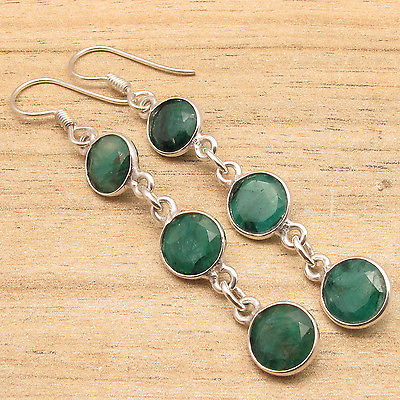 Green Emeralds Gem Stone ARTISAN Long Earrings ! Silver Plated Over Solid Copper