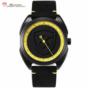 Collared Carpet Shark Sport Watch NEW Yellow Bezel One Simple Hand Design Leather Men Fashion Wristwatch