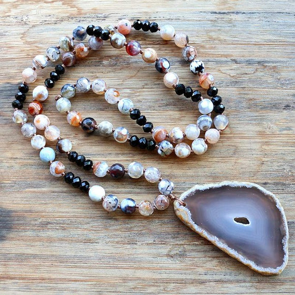 8MM  fashion handmade Natural Stone Bead With stone pendant Necklace For Women Jewelry