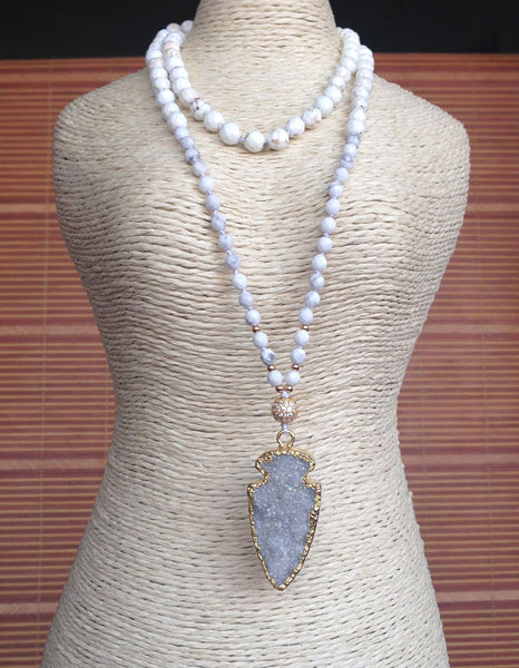 Titanium Color Natural Druzy Geode Gold Arrow Pendant White Stone Knot Beads Handmade Necklace 30inch long