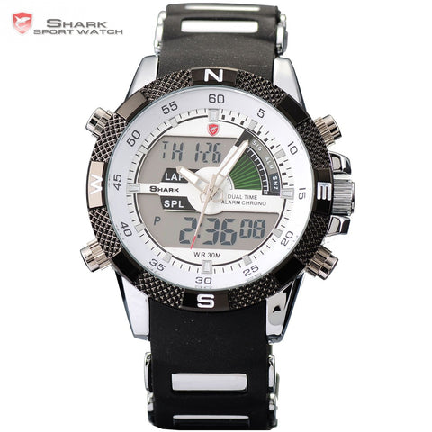 SHARK Sport Watch Men Outdoor Fashion Digital Multifunction Day Stopwatch Waterproof Silicone