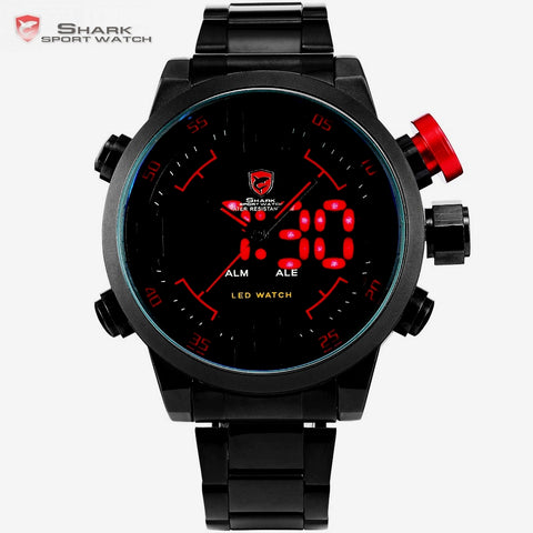 Gulper SHARK Sport Watch Digital LED Men Top Brand Luxury Black Red Calendar Steel Band Wrist Quartz Watches
