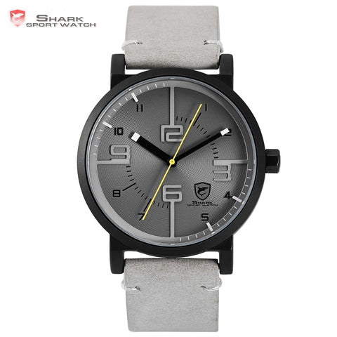 Bahamas Saw SHARK Sport Watch Grey Simple 3D Special Long Second Hand Men Male Quartz Leather Band