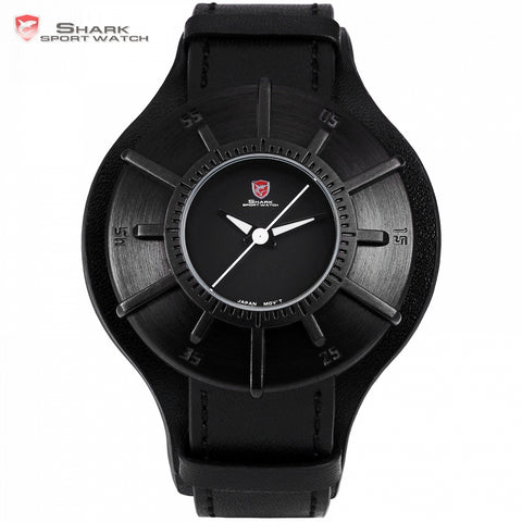 Silky Shark Sport Watch 2018 Men Watches Brand Luxury Black 3D Oversized Dial Military Quartz Genuine Leather Male Clock