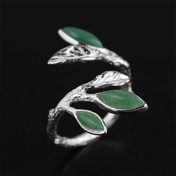 Natural Green Aventurine Leaves Ring for Women 925 Sterling Silver Handmade Jewelry Adjustable Rings