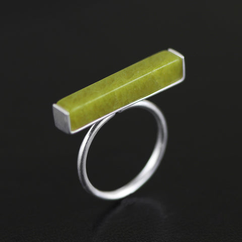 Natural Olive Agate Stone Simple T Bar Rings for Women 925 Sterling Silver Minimalist Jewelry Adjustable Ring