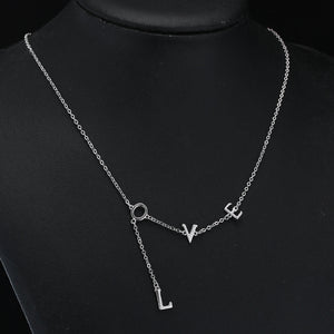925 Sterling Silver Chain Necklaces Letter Love Necklaces