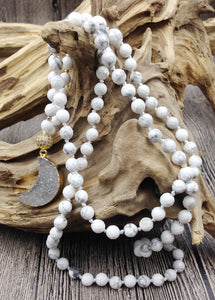Titanium Color Natural Druzy Geode Gold Moon Pendant White Agate Stone Knot Beads Handmade Necklace 30inch long