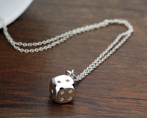 Dice Pendant 925 sterling silver pendant necklace dice pendant Solid silver