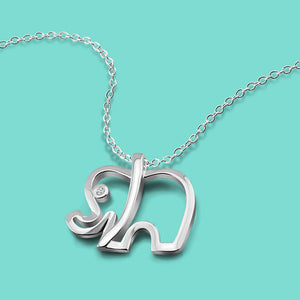 Elephant Pendant Necklace Solid Silver 925