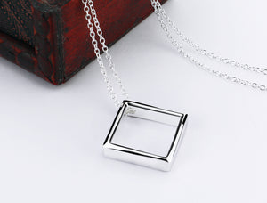Square 925 sterling silver pendant solid silver