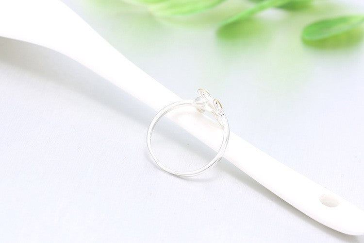 Gold/Silver Leaves Plain 925 Silver Rings Adjustable Open Ring For Girl Women Rings Gift Jewelry