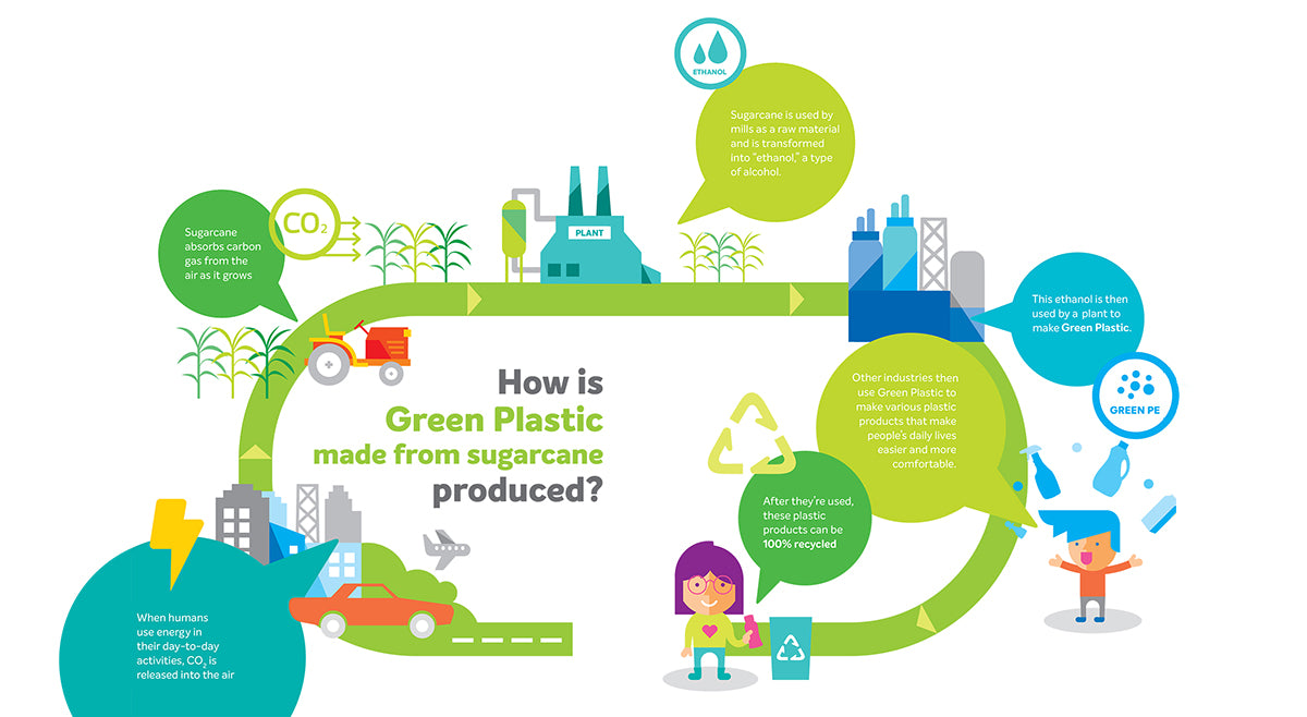 How green plastic is made from sugarcane