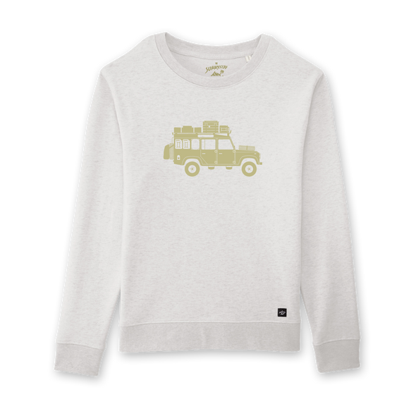 Land Rover Defender Willi auf creme weissen Damen Sweater –The Sunnyside
