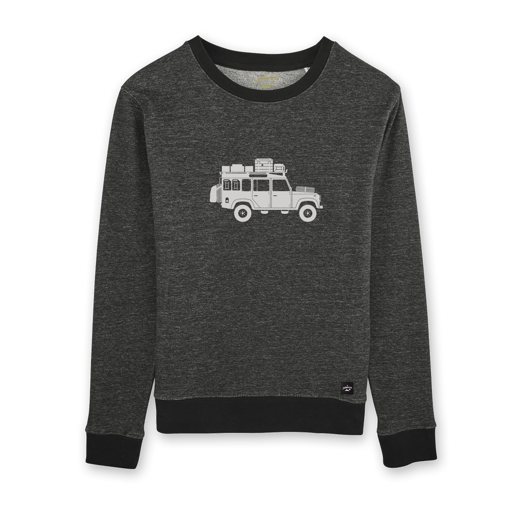 Land Rover Defender Willi auf schwarz meliertem Damen Sweater –The Sunnyside