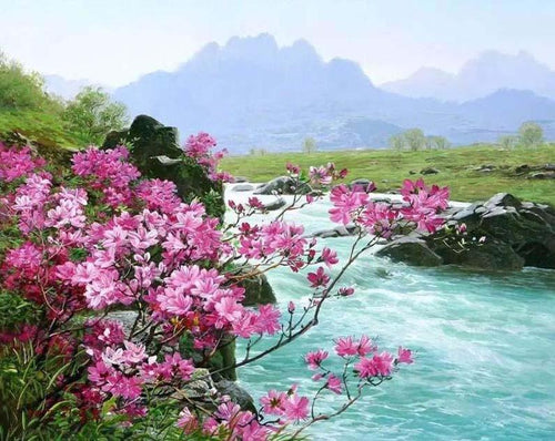 Flowers, River & Mountain Landscape