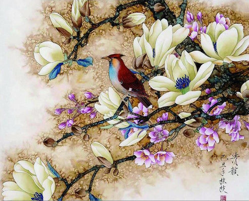 Asian Red Bird and Flowers