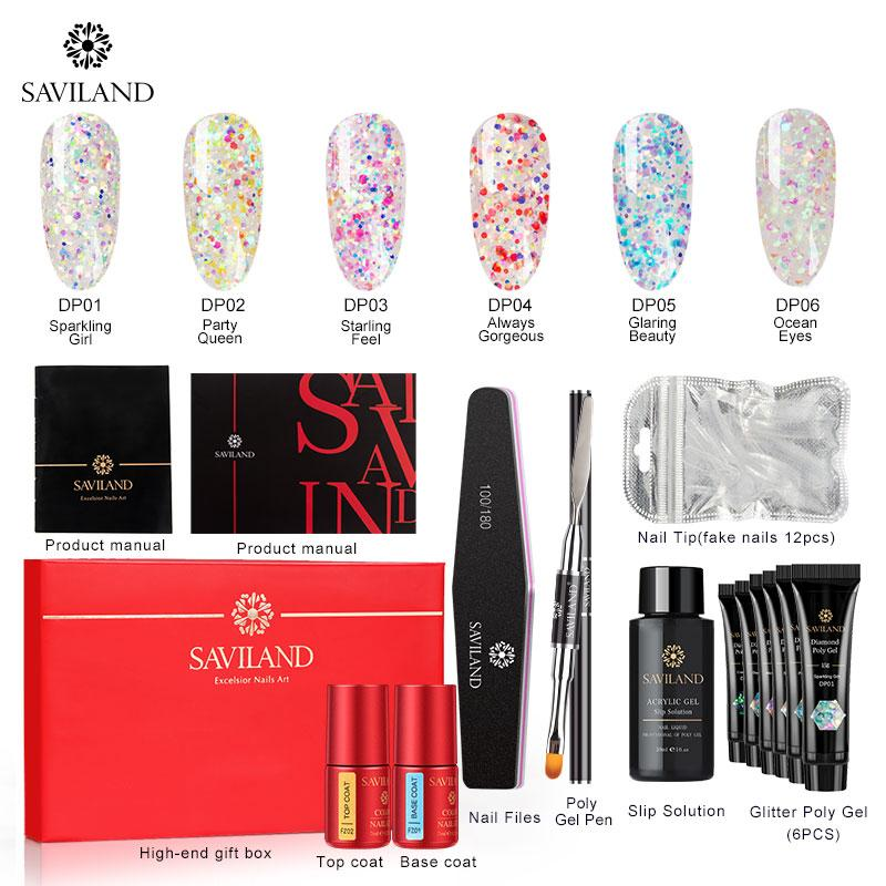 SAVILAND Diamond Glitter Poly Gel Kits Nails Gel Polish Sequins Fast Building Extension Soak Off UV Varnish Nail Art Tools