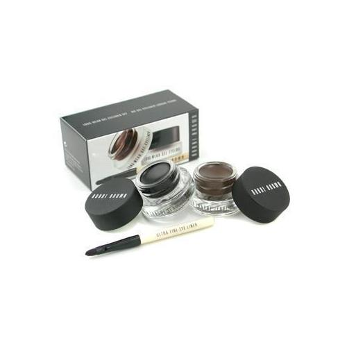 Long Wear Gel Eyeliner Duo: 2x Gel Eyeliner 3g (Black Ink, Sepia Ink) + Mini Ultra Fine Eye Liner Brush  3pcs