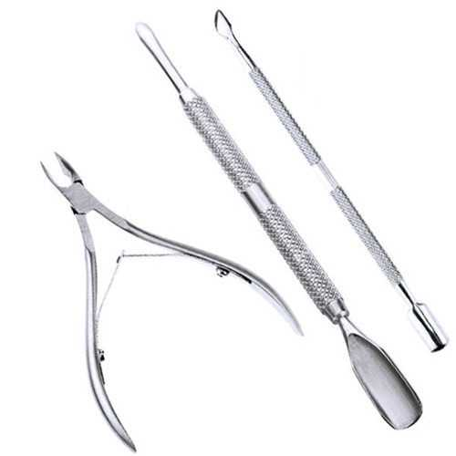 3pcs Stainless Steel Nail Cuticle Spoon Pusher Remover Cutter Nipper Clipper Set