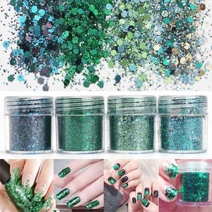 Super Shining Grass Green Mixed Glitter Powder Sequins Nail Decoration Dust Mermaid Effect Manicure