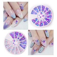 3D Round Purple Pink Nail Art Decoration Wheel Gradating Pearl Luster Manicure Stub Bead
