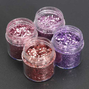Pink Purple Mixed Glitter Powder 1mm Sequins Shining Dust Nail Art Decoration Eye Shadow 10ml